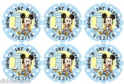 $2.99 • Buy 30 Mickey Mouse 1st First Birthday Stickers Lollipop Labels Party Favors 1.5 In