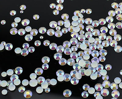 2,3,4,5,mm Or Mixed Size AB Iridescent Jelly Rhinestones White Card Making Nail • 1.80£