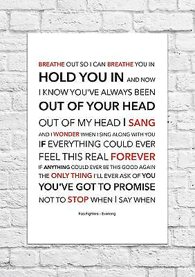 Foo Fighters - Everlong - Song Lyric Art Poster - A4 Size • 6.99£
