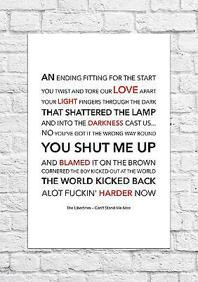 £6.99 • Buy The Libertines - Can't Stand Me Now - Song Lyric Art Poster - A4 Size
