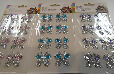8 Butterfly Gem Stickers 3 Shades To Choose From Pink Blue Or Mauve  • 1.95£