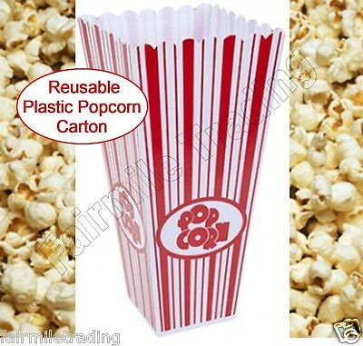 Reusable Novelty Plastic Popcorn Carton Box Container Movie Party Sweets Treat • 1.89£