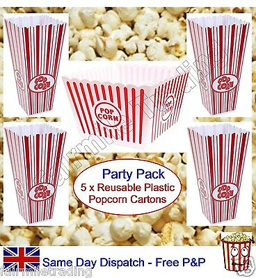 Reusable Plastic Novelty Popcorn Carton Box Container Large Tub Hollywood Movie • 9.99£