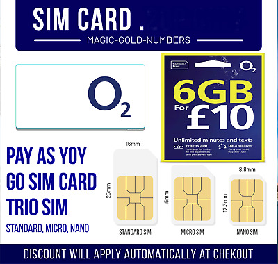 £0.99 • Buy O2 SIM CARD PAY & GO FOR IPHONE's AND SAMSUNG GALAXY ONE SIZE FITS ALL SIM CARD