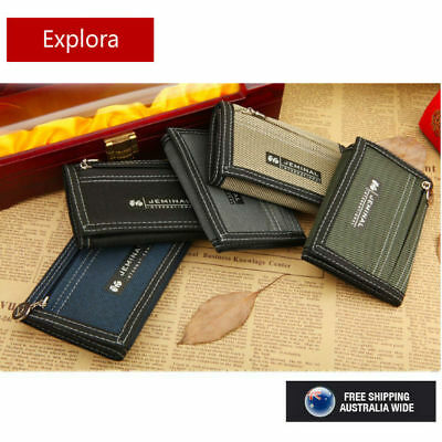 AU10 • Buy BOYS TEENAGE TRI-FOLD CANVAS WALLET With Front Zipper Coin Section