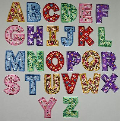 £0.99 • Buy Girls Floral Alphabet Letters Embroidered Motif Fabric Iron On Patch Childrens