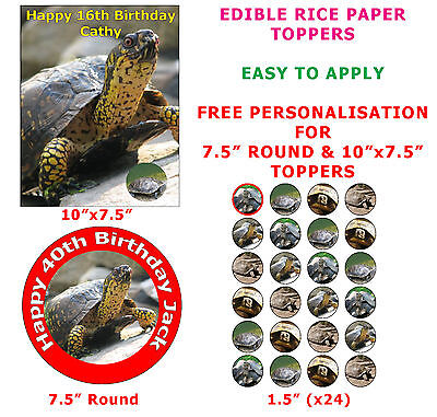 £3.50 • Buy Personalised Turtle Pet Reptile Birthday Cake/Cupcake Topper On Rice Paper