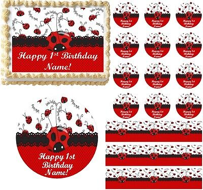 Red And Black LITTLE LADYBUG 1st Birthday Edible Cake Topper Image Decoration! • 6.43£