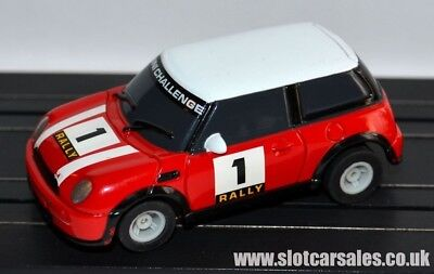 Micro Scalextric New Shape BMW Mini Challenge #1 Red Rally HO Car Fully Serviced • 12.99£