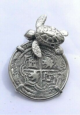 ATOCHA Coin Turtle Pendant Sterling Sealife Sunken Treasure Shipwreck Jewelry • 59$