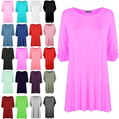 Womens Short Turn Up Sleeves Plus Size Button Ladies Flared Swing Dress Long Top • 4.99£
