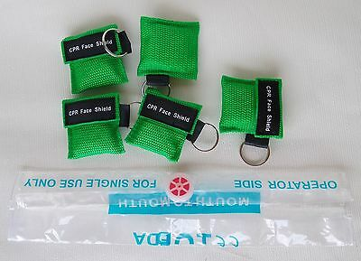 5pcs Green CPR Mask Face Shield With Keychain For First Aid Training Disposable • 4.75£