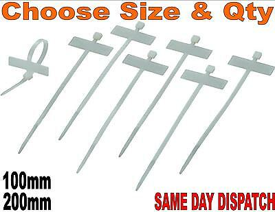 £2.98 • Buy Cable Tie Marker I.D Tie. 100mm & 200mm. Write On Label. Tag. Various Pack Size.