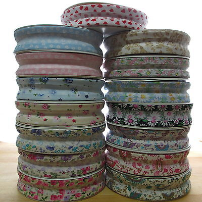 1m PATTERNED FLORAL HEART CHECK PRINT 25mm COTTON BIAS BINDING TAPE 51 DESIGNS • 1.50£