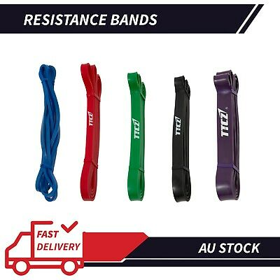 AU32.31 • Buy Set Of 5 POWER Heavy Duty RESISTANCE BAND Gym Yoga LOOP Exercise Fitness Workout