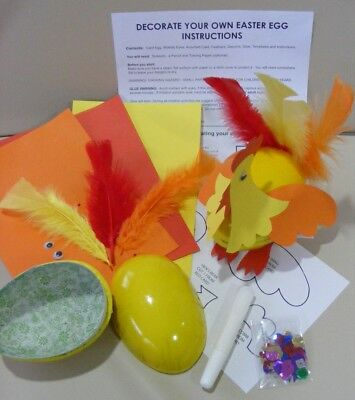 Childrens Easter Craft Kit Make A Hen Decorate Your Own Hollow Card Easter Egg  • 7.50£