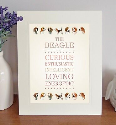 Beagle 8 X 10 Free Standing BREED TRAITS Picture Fun 10x8 Dog Print Lovely Gift • 7.50£