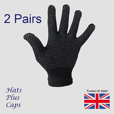 £3.49 • Buy  Gripper Gloves Black Thermal One Size Stretch Magic Driving Gloves 2 Pairs