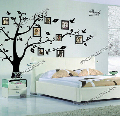 X Large Family Tree Birds Photo Frame Quotes Wall Stickers Home Art Decals Decor • 8.39£