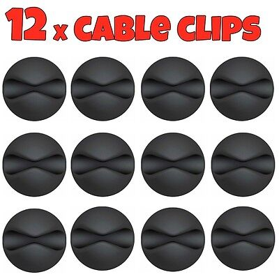 12x Black Cable Wire Cord Lead Drop Clips Usb Charger Holder Tidy Desk Organiser • 3.25£