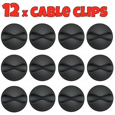 £3.25 • Buy 12x Black Cable Wire Cord Lead Drop Clips Usb Charger Holder Tidy Desk Organiser