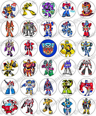 30 X Transformers Cartoon Party Edible Rice Wafer Paper Cupcake Toppers • 1.49£
