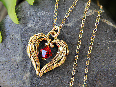 Angel Wing Heart & Birthstone Necklace- 22k Gold Pl. Charm, 14k Gold Fill Chain • 31.84£