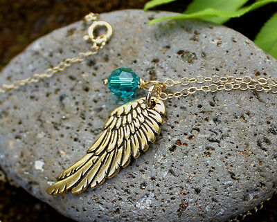 Angel Wing & Birthstone Necklace- 22k Gold Plated Charm, 14k Gold Fill Chain • 31.84£