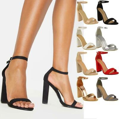 £16.99 • Buy Womens Ladies Block High Heels Ankle Strap Sexy Open Toe Sandals Shoes Size New