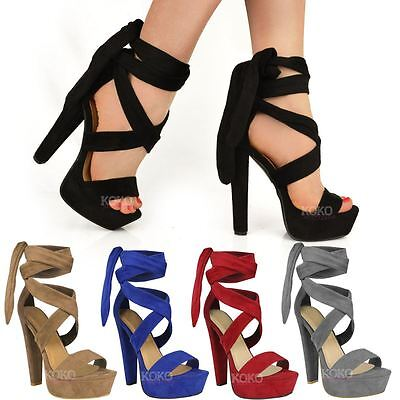£22.99 • Buy Womens Ladies Tie Lace Up Ankle High Heels Block Platforms Party Open Shoes Size