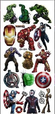 Girls/Boys AVENGERS Temporary Tattoos Great For Party Bags Size 9cm X 19cm • 1.99£