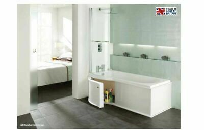 P Shape Shower Bath With White Gloss Wood Effect Storage Panel & Screen • 590.64£