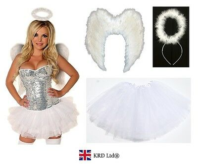 £9.15 • Buy Angel Fairy Feather Wings Halo Adult Fancy Dress Costume Outfit Hen Party WHITE