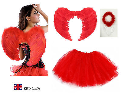 £10.15 • Buy Angel Fairy Feather Wings Adult Fancy Dress Costume Outfit Hen Party Lot RED UK