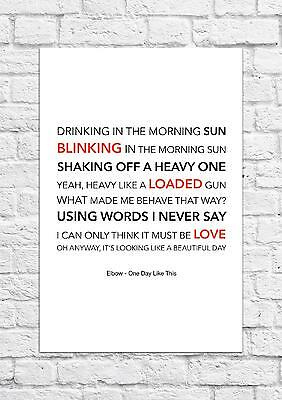 £6.99 • Buy Elbow - One Day Like This - Song Lyric Art Poster - A4 Size
