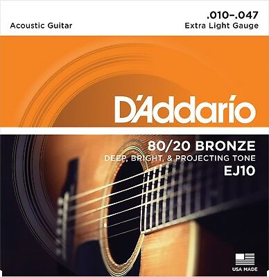 $ CDN20.98 • Buy 3 Sets D'Addario EJ10-3D 80/20 Bronze Acoustic Guitar Strings 10-47 Extra Light