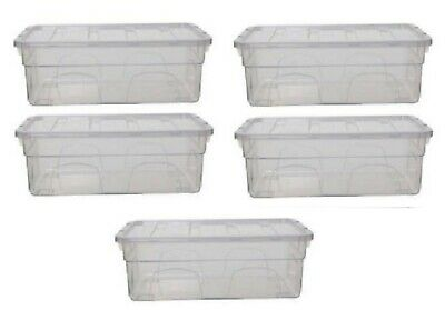 $31.03 • Buy 5x 36cm MEN SHOE STORAGE BOX CLEAR PLASTIC STACKABLE CONTAINER TOY ORGANISER NEW