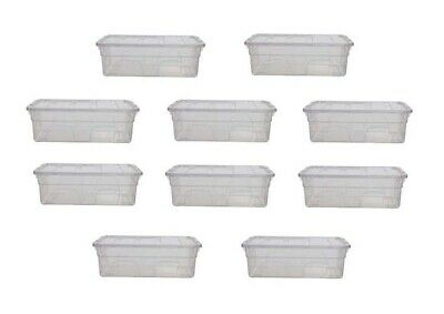 $41.63 • Buy 10 Box Of 36CM MEN SHOE STORAGE CLEAR PLASTIC STACKABLE CONTAINER TOY ORGANISER