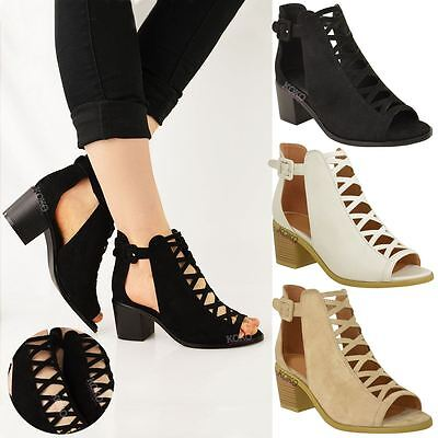 £18.99 • Buy Womens Ladies Low Wedge Heel Sandals Lace Up Cut Out Shoes Ankle Strap Size