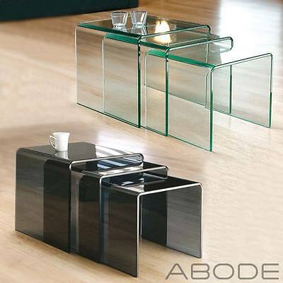 New Milan Set Of 3 Bent Glass Nest Of Side Tables Coffee Set Curved  • 94.99£