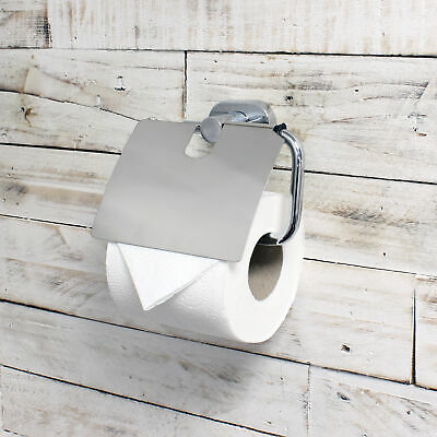 ECOSPA Toilet Paper Roll Holder And Cover In Chrome • Wall Mounted • WC Bathroom • 6.95£