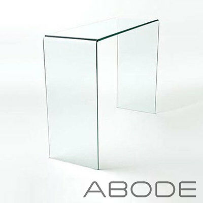 Curved Glass Console Table Small Large Clear Dining Bent Hall End Table Side • 169.99£