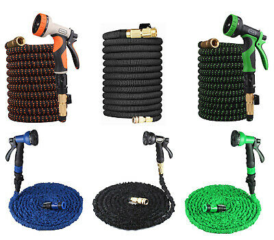 100FT - 25FT Expanding Flexible Expandable Garden Water Hose Pipe + Spray Nozzle • 14.99£