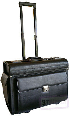 Large Wheeled Laptop Pilot Case In Grained Faux Leather Briefcase Bag On Wheels • 64.97£