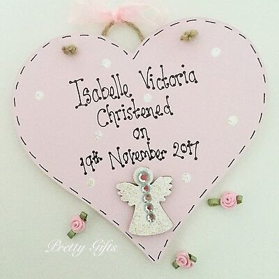 Personalised Christening, Baptism, First Holy Communion Heart Angel Plaque Gift • 11.99£
