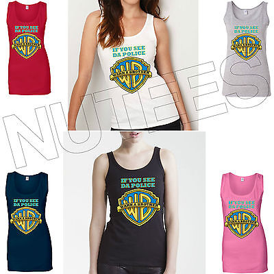 If You See Da Police Warn A Brother Hip Hop Lady Tank Top Vest S-XXL Sizes  • 10.99£