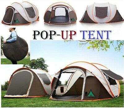 AU84.30 • Buy Instant Up Camping Tent 3-6 Person Pop Up Tents Family Hiking Dome Waterproof
