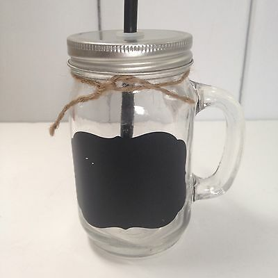 Rustic Drinking Jars, Glass With Handle, Straw And Chalk Board With A Lid • 6.99£