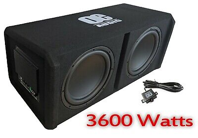 12  Twin Active Amplified Double Bass Box Sub Car Subwoofer 3600W Boost SOUND!!! • 349.99£
