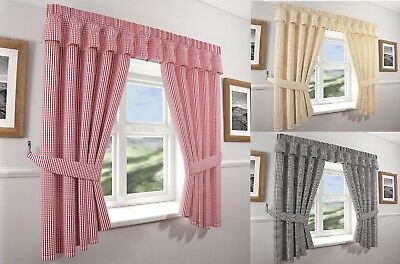 Gingham Kitchen Curtains & Tie Backs,fully Washable In 3 Great Colours. • 13.99£